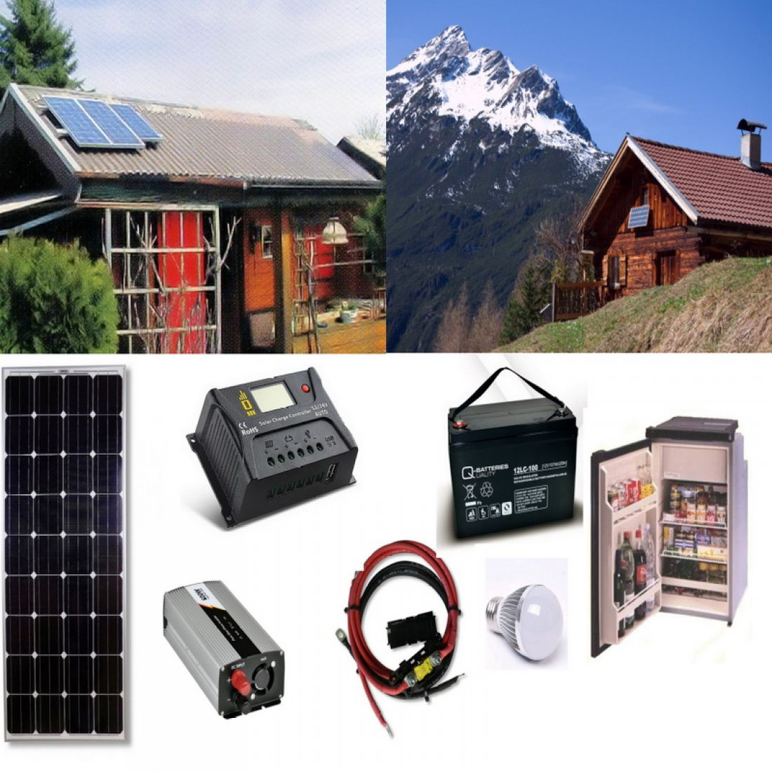 Solaranlage 4 für Gartenhaus, Berghütte   Inselanlage